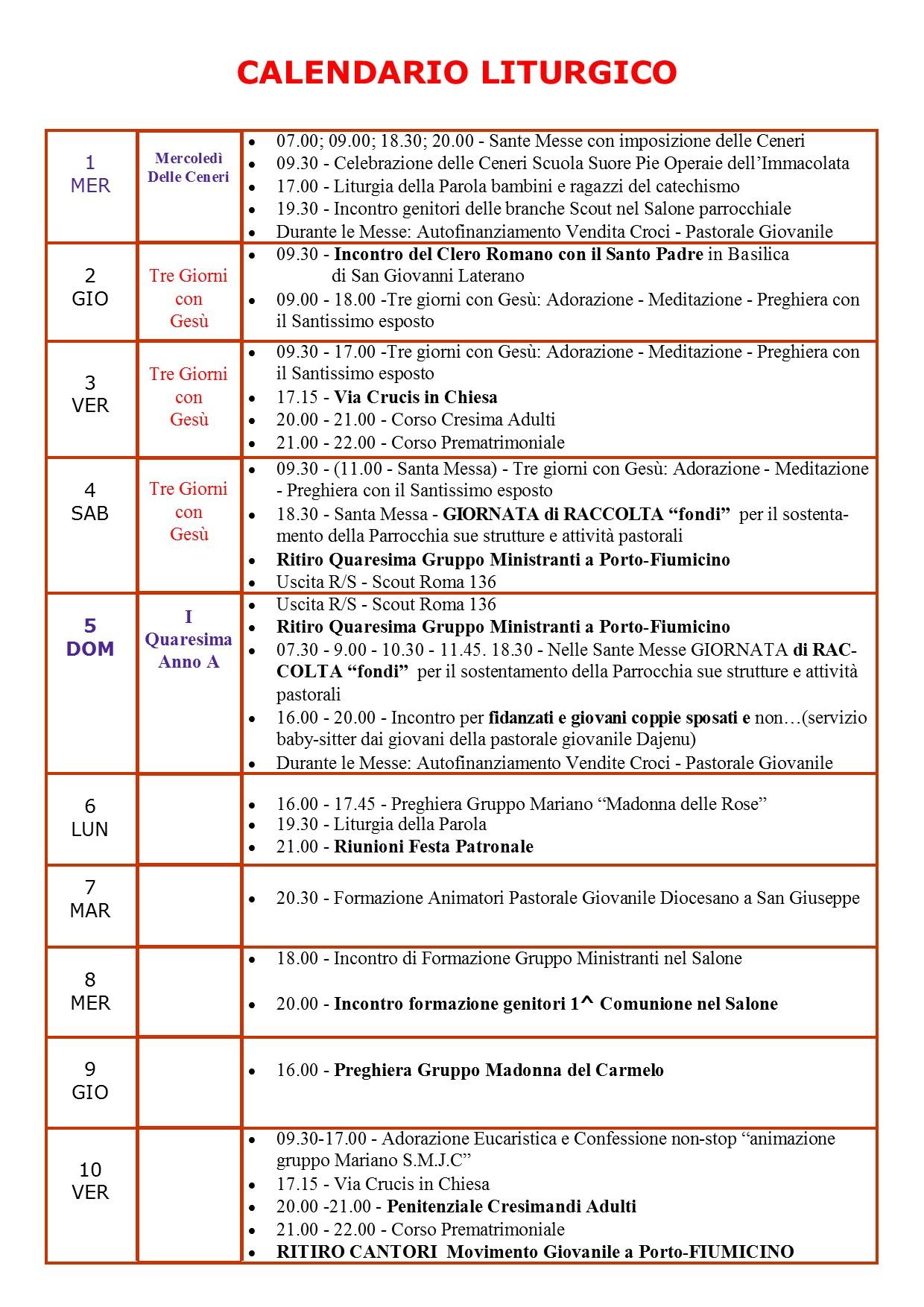 Calendario Di Marzo.Calendario Di Marzo 2017 Santa Maria Janua Coeli